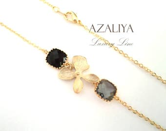 Orchid Necklace with Black Diamond Crystal. Azaliya Luxury Line. Brides, Bridesmaids Necklace Gifts.