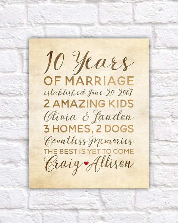 10 Year Anniversary Gift Wedding Anniversary Decor Rustic