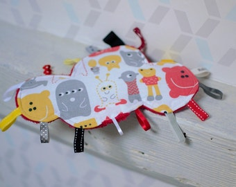 Doudou labels Red Cloud alien funny - gray, yellow - gift - baby 3-12 months - doudou flat - toy of awakening