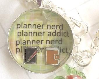 planner nerd necklace, planner jewelery, planner supplies, planner bling, planner nerd, wife gifts necklace, planner pendants, planner chain