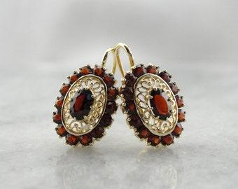 Filigree Garnet Drop Earrings 6X3F5N-R