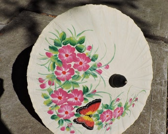 Thailand Paper Parasol | Flower and Butterfly Hand Painted Parasol | Umbrella Kids Room Decor | GreenTreeBoutique