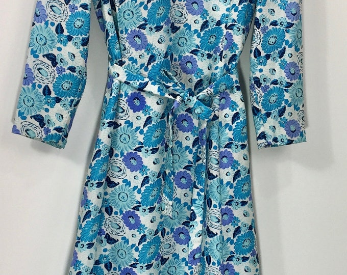 Vintage Edward Mesrobian Floral Maxi / 1960s Maxi / Blue Floral Dress / Maxi Dress Medium