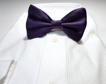 Large LAPIS or AMETHYST Dark Purple SILK Bow Tie with Gift Box
