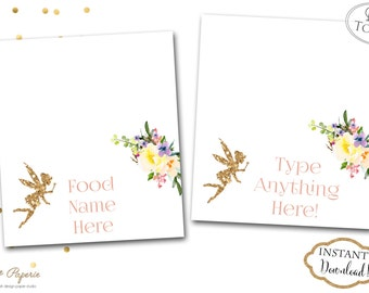 INSTANT DOWNLOAD - Garden Fairy Party Food Tent Labels - Woodland Pixie Buffet Tags - Gold GlitterFairy Food Tent Labels - Buffet Signs 0443