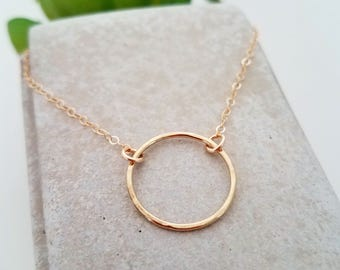 Yellow Gold Open Circle Necklace, 14K Gold Fill, Minimal Necklace, Gift for Her YG1116