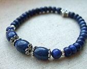Lapis Lazuli and Silver Eternity Knot Stretch Bracelet