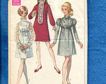 1960's Simplicity 7676 Retro Party Dresses with High Collars Size 13/14 Young Junior/Teen