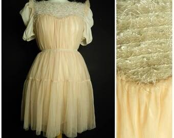 90s boutique TULLE mesh peach layered babydoll fairy dress peach antique off white U.K. 12 - 14 M