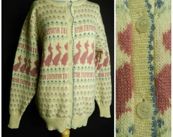 80s 90s RARE pure new wool cream dusty rose pink blue + green Jemima Duck Beatrix potter collectable cardigan sweater M ~ L
