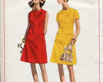 Mod A-line 1960s dress pattern, Butterick 4788, Size 12, Bust 34 - semi-fitted with pockets