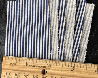 Vintage Antique Quilting Fabric Scrap Pieces // indigo blue and white pinstripe cotton > very old, lightweight/thin cotton > 6 odd pcs