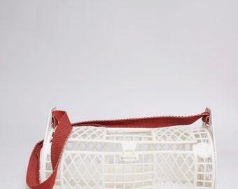 Vintage White Plastic Mesh Tube Bag with Red Shoulder Strap