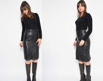 Vintage 90's Real Leather High Waist Black Skirt / Black Genuine Leather Skirt /Leather Midi Skirt /Real Leather Pencil Skirt - Size Small
