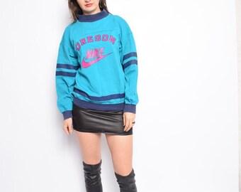 Vintage 90's NIKE Sweatshirt Jumper /Turquoise Nike Top - Size Small