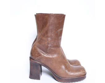 Vintage 90's Brown Leather Chunky Heel Boots with Side Zippers