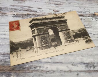 Vintage Paris Postcard . L'Arc de Triomphe . French Vintage Postcard . Topographic Postcard France.