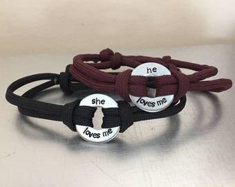 LOVES ME Bracelet(s) - Personalized One Washer Double Strap Paracord Bracelet