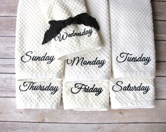 Days of the Week Towels, dishcloth, august ave, days of the week dish towels, kitchen towel, zone cleaning, kitchen cleaning, tea towel
