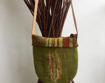 Felted cross bag - wet felted on handwoven - top merino wool - one of a kind
