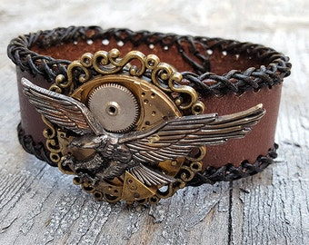 Steampunk American Eagle Leather Wristband Cuff-Steampunk Bracelet-Steampunk leather cuff-steampunk wristwatch Ladies gift-steampunk cosplay