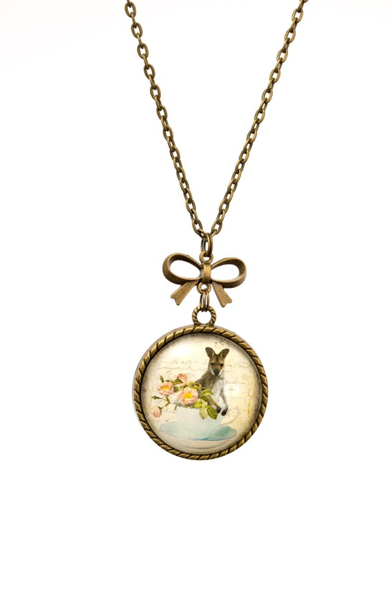 FREE SHIPPING - **NEW** Wallaby In A Teacup 30mm Bronze Lace & Bow Pendant Necklace - Unique - Vintage - Gorgeous Gift - Love