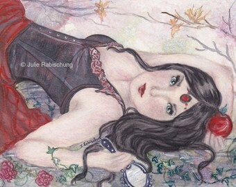 Print, art, fairy tale, snow white, dark, fantasy, portrait, snow white art, apple, mirror, ivy, woman, giclee, red, black, girl, gift