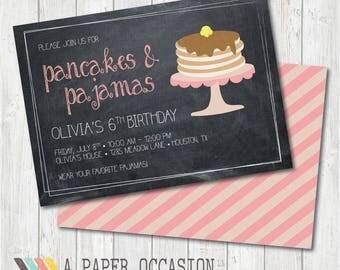 Pancakes & Pajamas Party Invitation, Sleepover Party Invitation, Girls Birthday Party Invitation, Pancakes and Pajamas Birthday