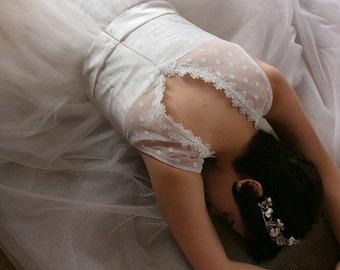 Vintage Style Tea-length Polka Dot wedding dress, Short Couture Wedding Gown, V-neck White Polka Dot Wedding Dress-L'Amei-2017