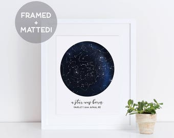 Custom Framed Constellation Map, New Baby Gift, First Anniversary Gift, Personalized Wedding Gift, Night Sky Print, Father's Day Gift