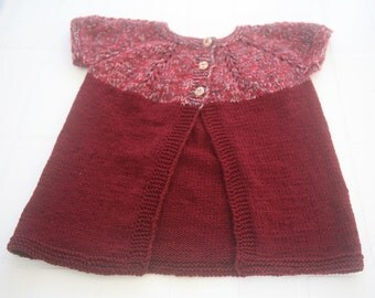 Girls Winery Red Hand Knit Sleeveless Cardigan/ Children Hand Knit Cardigan. Sleeveless Jacket. Size: approx. 3-4 years.