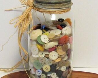 Vintage Buttons in Kerr Mason Jar