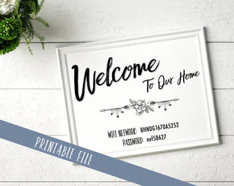Wifi Password Printable | Welcome to Our Home | personalized | customize | 4x6 | 5x7 | 8x10 |