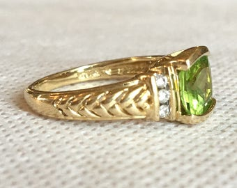 Cushion Cut Peridot and Diamond Ring in 14K Yellow Gold