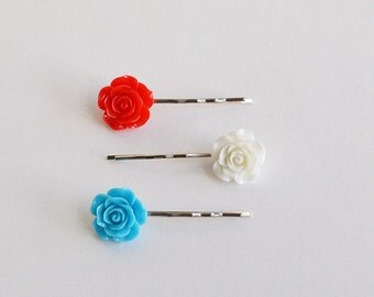 Set of 3 Assorted Color Rose Flower Resin Bobby Pin - Cute Hair Clip - Hair Pins - Color Hair Clips - Bobby Hair Pins Set
