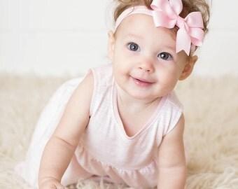 Light Pink Bow Headband, Pink Baby Headband, Light Pink Headband, Light Pink Hair Bow, Baby Shower Gift, Newborn Headband Photo Prop