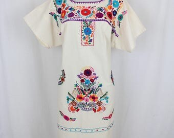 Frida Style Colorful Mexican Dress with Embroidered Flowers- 100% Cotton-Summer-BOHO-Hippie- Bata- Kaftan- Wedding Dress