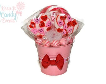 Small Valentines Lollipop Arrangement, Candy Arrangement, Valentines Arrangement, Valentines Candy, Valentines Day Centerpiece, Wedding