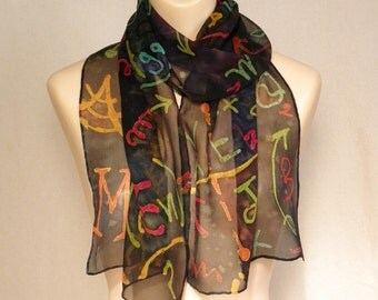 Math and/or Physics Chalkboard Doodles... Hand Painted Silk Chiffon Scarf (price reduced for 'splotch')