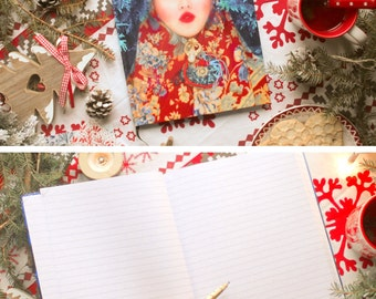 "Large notebook lined pages color photography Olga Valeska format A4, Russian folklore style / matryoshka / folk / fairy, ""Snegurotchka"""