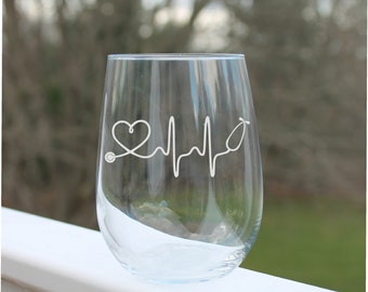 nurse wine glasses, wine glasses, ekg, nursing wine glass, wine glasses, heart beat, nursing wine glass, Etched wine glass, RN, Stethoscopes
