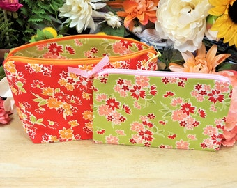 Makeup bag, Cosmetic bag, Zipper pouch, Zipper bag, Travel pouch, Toiletry bag, Gift for her, Gift set, Flowers