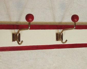 Vintage long COAT RACK, 5 hooks, cottage chic white + red, 1940s