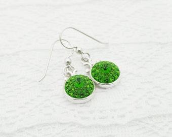Kelly Green Swarovski Crystal Bridal Earrings, Sterling Silver Fern Green Swarovski Crystal Dangle Earrings, Crystal Bridesmaid Jewelry