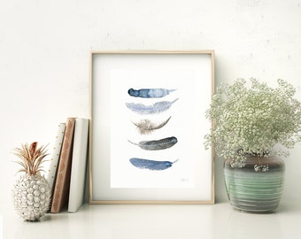 Blue and brown feathers art print. Native art print watercolour painting, Delicate feather art print, Five nature bird feathers wall art