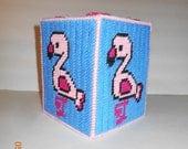 Flamingo tissue box cover,  plastic canvas, kleenex