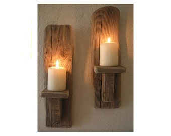 Wall Lights For Country Cottage : Wood candle holder Etsy