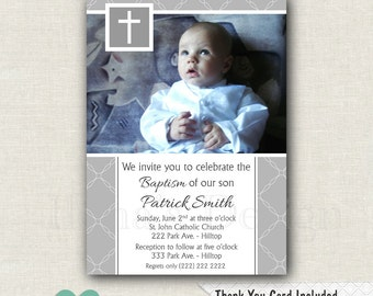 Grey Baptism Invitations Boy - Christening Invitations Boy - Baptism Invitation Boy - Photo Baptism Invitation Printable