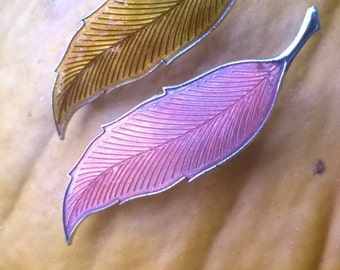 Brooches Pins Set of 2 Enamelled Leaves