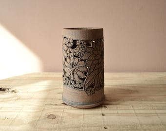 Vintage Hurricane Shade Handmade Pottery with Cutout Flower Design